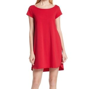 Eileen Fisher Dress PP Ruby Red Ballet Neck Jersey
